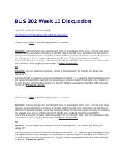 BUS 302 Week 10 Discussion