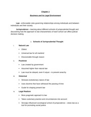 Chapter 1 - Business and its Legal Environment - Notes