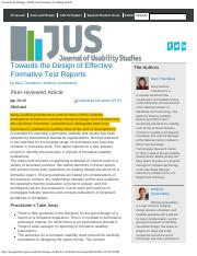 Towards the Design of Effective Formative Test ReportsJUS