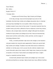 "Compare and Contrast Essay ""High Schools and Colleges"""