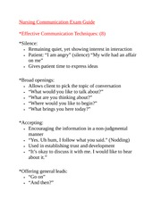 Nursing Communication Exam Guide