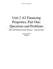 Unit 2 A2 - Financing Properties, Part One Questions and Problems