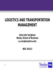 Logistics & Transportation Management Introduction