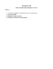 Management 305 Study Guide Exam 2