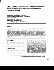 Effect of the thickness of a thermal interface material (solder) on heat transfer between copper sur