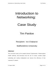 Introduction to Networking - Case Study.doc