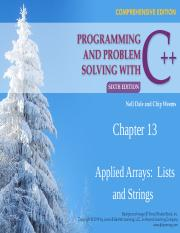 CSC 511 - 01 - CHAPTER 13 - APPLIED ARRAYS - LISTS & STRINGS