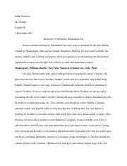 annotated bibliography - elizabethan era women