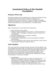 FIN 4663      STRUCTURE  OF CASE STUDY Invest.Policy                              Hewlett