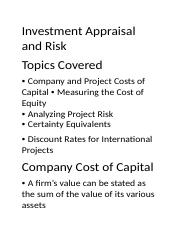 Investment Appraisal and Risk.docx