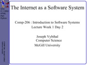 COMP 206 Lecture Week 1 Day 2 - Internet System