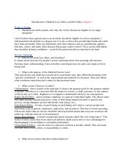 Medcal Laws and Ethics chapter 1