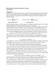 Determination of the activation energy of the reaction