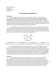 recrystallization of benzoic acid lab report Benzoic acid lab report by dissolving both impurities and a compound in an appropriate solvent, either the desired procedure for recrystallization procedure for recrystallization- 1.