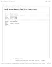 Waste Managment Unit I Assessment