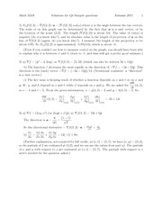 Sampel Quiz 4 Solution Fall 2011 on Multivariable Calculus