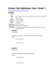 Review Test Submission Week 5 quiz