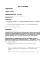 duc.Job description of Marketing manager