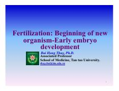 Chapter 4. Fertilization Early embryo development-The first cell division and the first