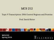 MCB 252 Topic 9 Transcription_DNA Control Regions and Proteins Sp16.pptx