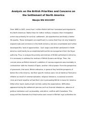 Analysis on the British Priorities and Concerns on the Settlement of North America .docx