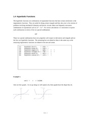 1.4 Hyperbolic Functions