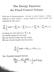 The Energy Equation for Fixed Control Volume