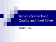 Introduction to Food Quality and Food Safety