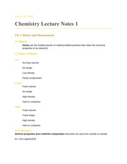Chemistry Notes Fall 2007