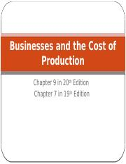 Chapter 9 - Businesses and the Cost of Production