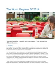 The Worst Degrees Of 2014