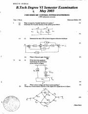 (www.entrance-exam.net)-Cochin University B.Tech in CSE 6th Sem Control System Engineering Sample Pa
