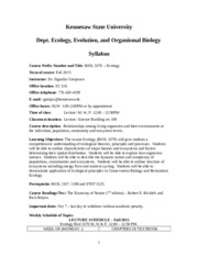 Syllabus-ECOLOGY BIO 3370-lecture-Fall-2015-2