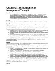 Study Guide - Chapter 2 - The Evolution of Management Thought