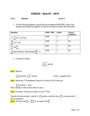 CHE 222 Spring 2014 Quiz 1 Solutions