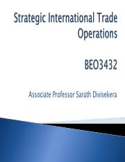 Lecture 1 - Trade Operations Strategy