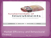 LEC 6 - Market Efficiency and Behavioral Finance