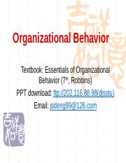 Chapter1 Introuduction to organizational behavior