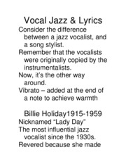 Vocal Jazz Lyrics
