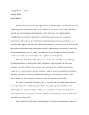 Essay Sherry Turkle Technology.docx