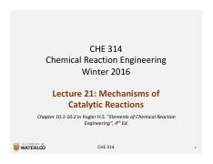 CHE 314_L21_Mechanisms of Catalytic Reactions