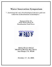 Water innovation symposium