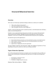INTERVIEW TIP SHEET 2 - Structured