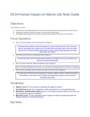 05.04, Week 10 - Human Impact on Marine Life Note Guide.docx
