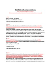 TED or TEDx Talk Assignment Sheet 5