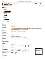 Trigonometry Problems - EASY Problems with Solutions.pdf