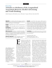 Morgenstern (2011) attitudes as mediators of the longitudinal association between alcohol advertisin