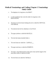 Medical Terminology & Coding - Chapter 5 Terminology Study Guide W ANSW ON SOME