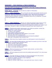 11 (2015-16) WORKSHEET — TOPIC PROPOSAL to THESIS STATEMENT — (1)