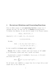 Recurrence Relations and Generating Functions